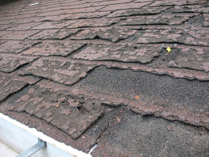 old 3 tab shingle roof deteriorating